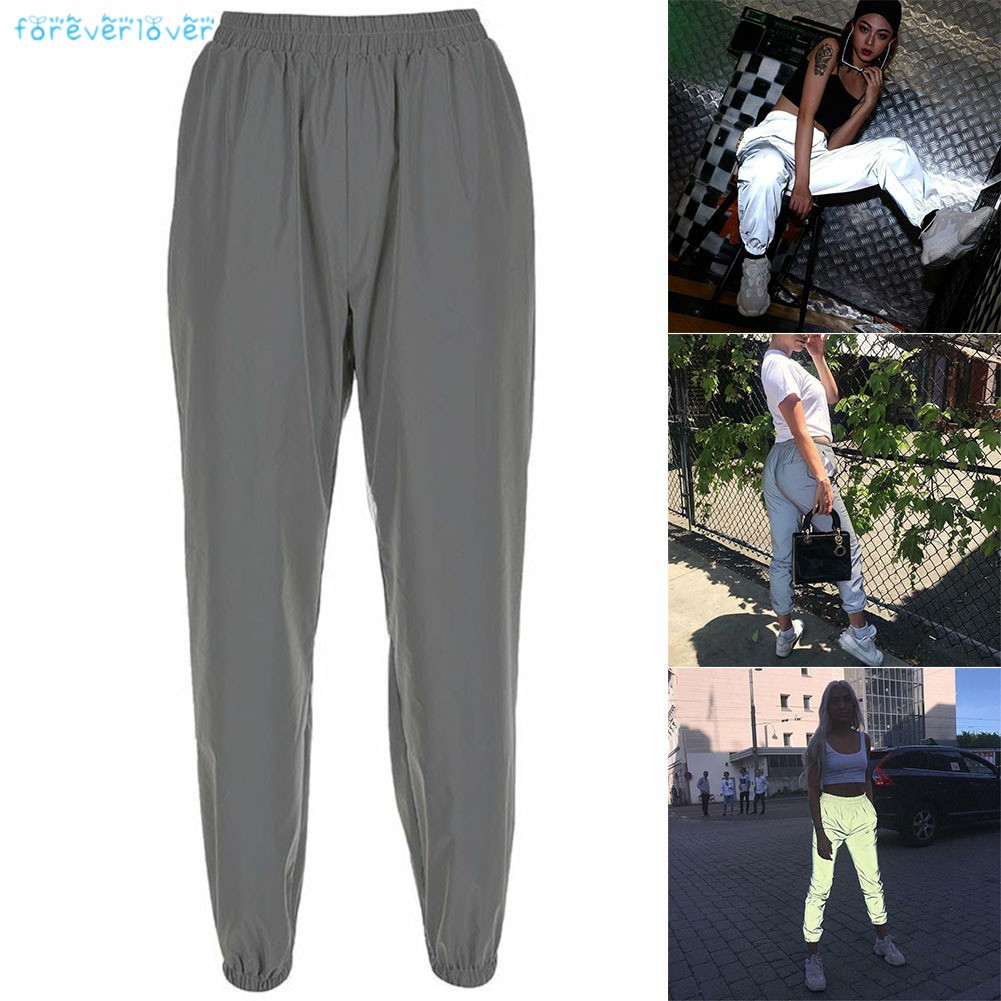 Hình ảnh 1 Pcs Women Reflective Pants Trousers Elasticity Casual Night Sporting Jogger