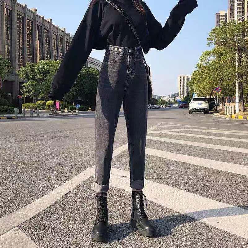 Quần Jean Dài Lưng Cao Dáng Rộng Màu Khói Thời Trang Hàn Quốc 2020 Cho Nữ