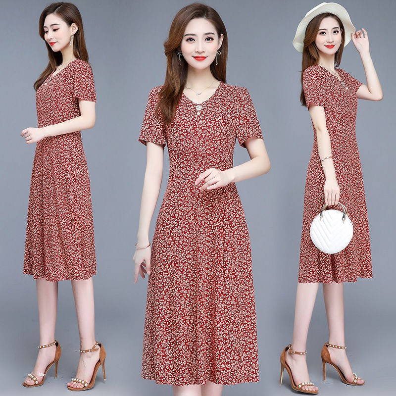 đầm dài™Middle-aged and old broken beautiful dress in the summer of 2019 female rich big yards over-the-knee cultivate