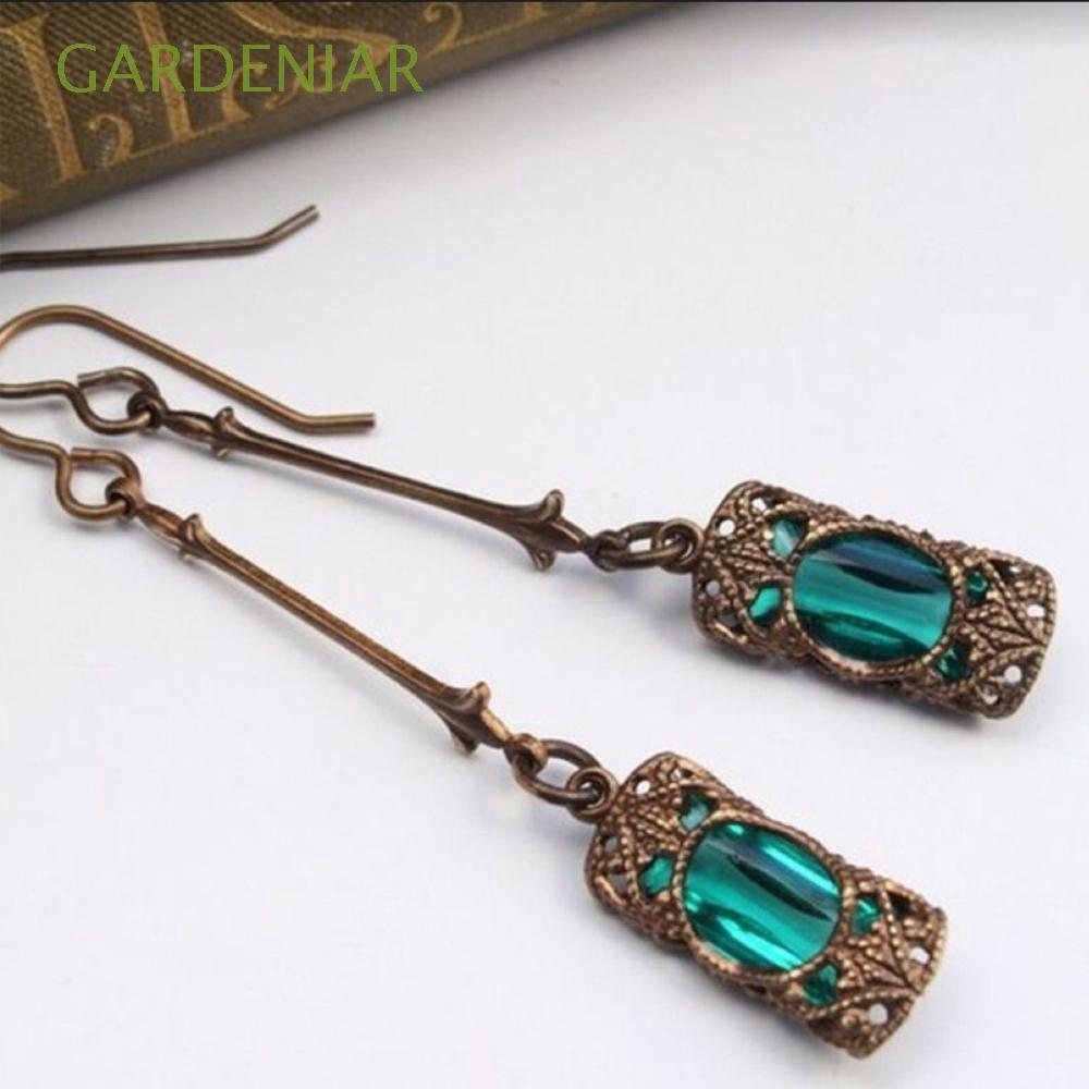 Bông tai xi mạ bạc đính đá Sapphire xanh