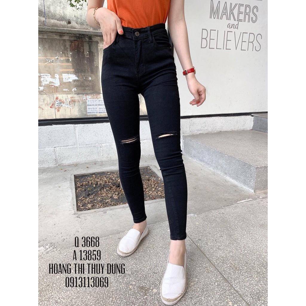 quần jean nữ đen rách gối ngang siêu đẹp