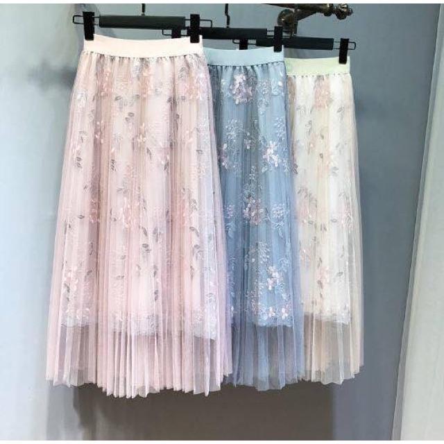 Chân váy voan dài thêu hoa, có hình thật