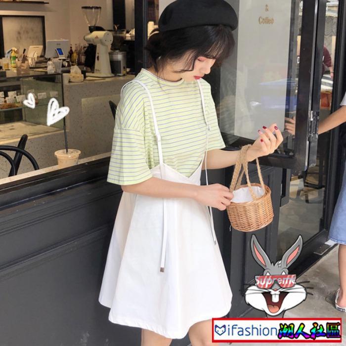 Set áo thun ngắn tay + đầm yếm phong cách trẻ trung năng động dành cho nữ