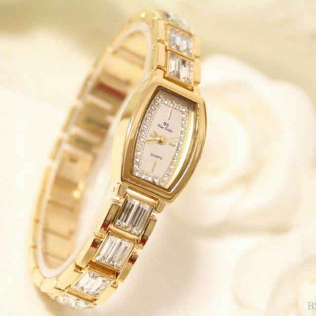 Đồng hồ nữ mặt hình chữ nhật kết đá