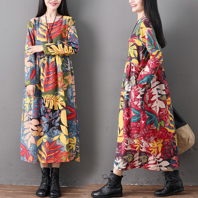 Chân Váy Dài Lưng Cao Họa Tiết Thổ Cẩm Thời Trang Cho Nữ