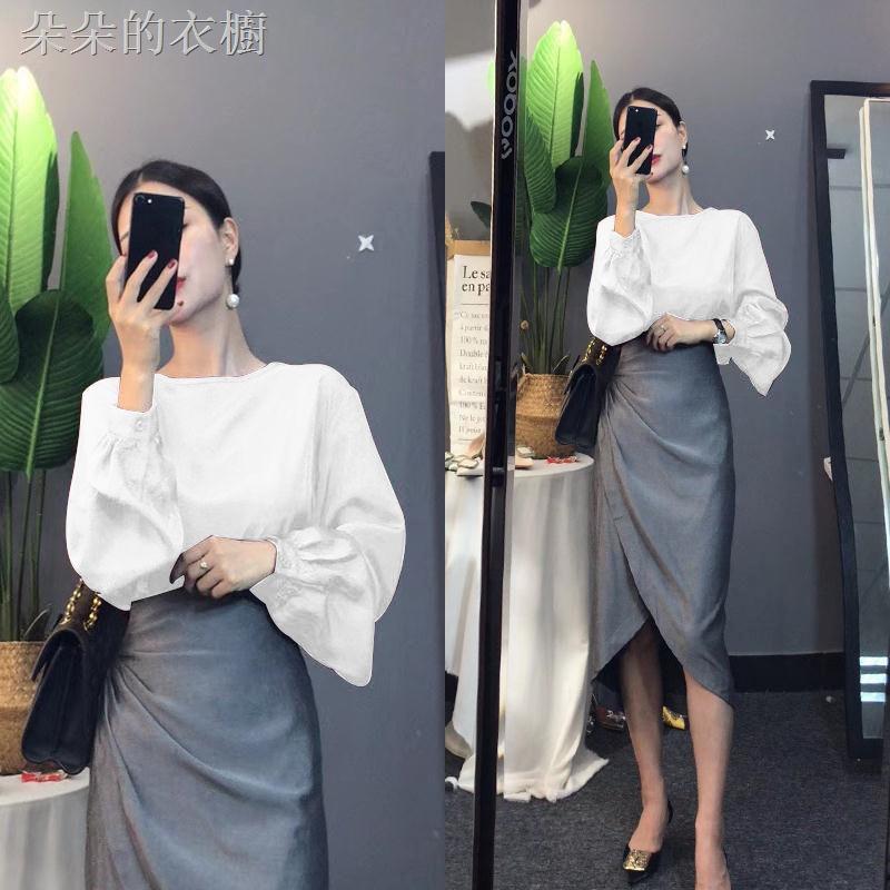 Set Áo Sơ Mi Tay Loe Phối Chân Váy Xếp Ly Kiểu Hàn Quốc Thời Trang 2020