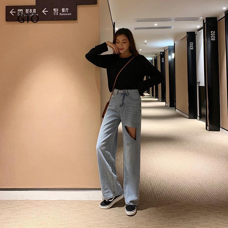 Quần jeans nữ kiểu dáng đơn giản phong cách Hàn Quốc