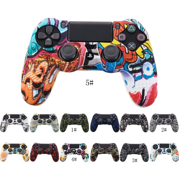 Hình ảnh Camouflage Case Graffiti Studded Dots Silicone Rubber Gel Skin for Sony PS4 Slim/Pro Controller for