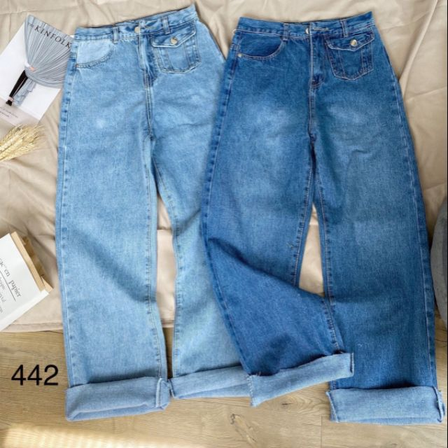 Quần jean suông lai xẻ