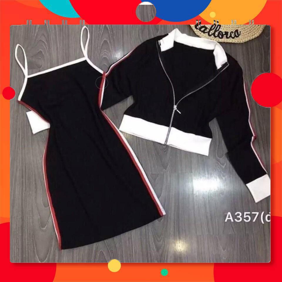 7316941303 - 165B1 Set đầm body 2 dây và áo khoác dây kéo sang trọng gợi cảm
