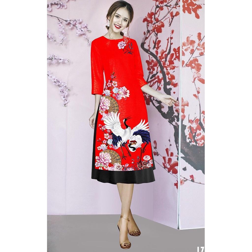 Set áo dài cách tân tơ nhung nền đỏ in chim hạc