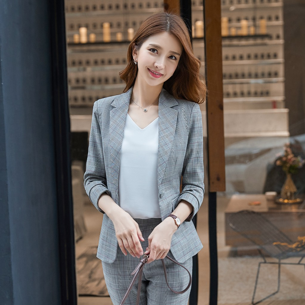 Set áo khoác dài tay + quần dài thời trang thanh lịch cho nữ