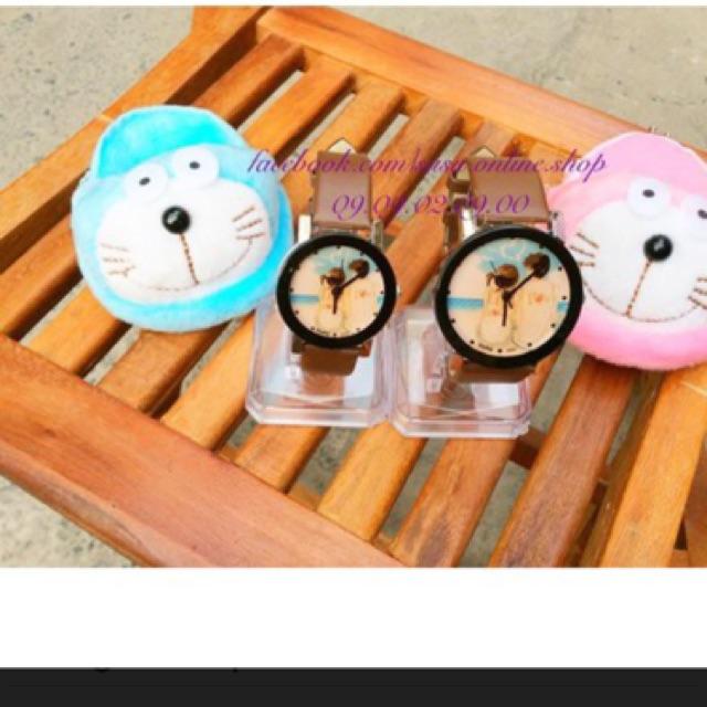 Đồng hồ cặp nam nữ Msek dây da nâu (hình shop tự chụp)