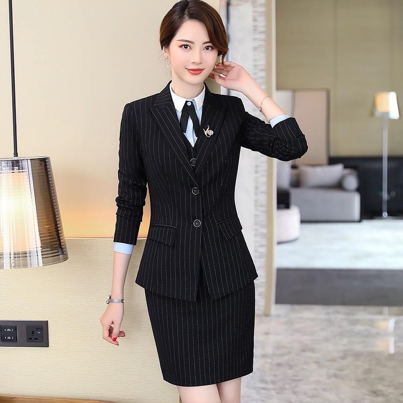 Set Áo Sơ Mi Dài Tay + Chân Váy Lưng Cao Sọc Vằn Thời Trang Nữ