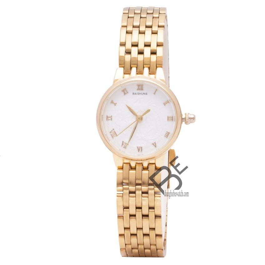 Đồng hồ nữ Baishuns dây kim loại vàng mặt trắng