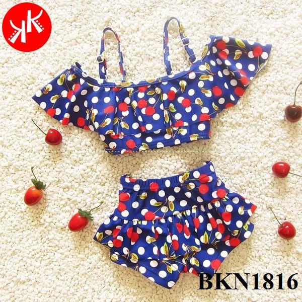 Freeship 99k toàn quốc_,Bikini áo tắm bé gái 2 mảnh trái sơri xanh navy