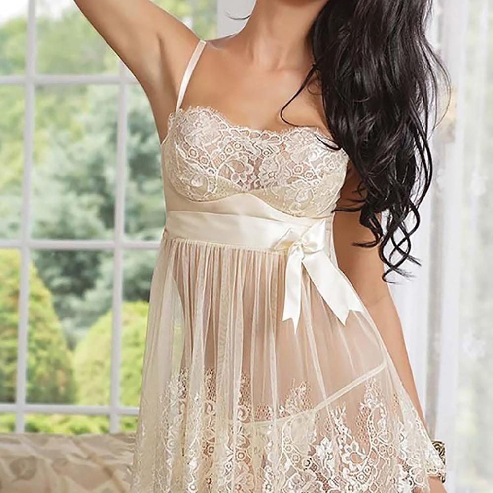 Áo đầm ngủ pajama 2 dây phối ren quyến rũ cho nữ