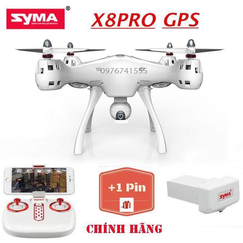 [Bộ 02 Pin] Flycam SYMA X8PRO Hiện Đại, Tích Hợp GPS, Camera 720P FPV Chỉnh Góc 90 Độ, Truyền Hình Ảnh Trực Tiếp