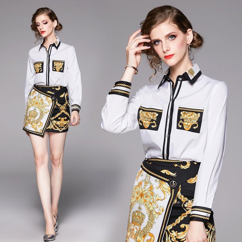 Bộ Áo Sơ Mi Dài Tay In Họa Tiết + Chân Váy Xinh Xắn Dành Cho Nữ