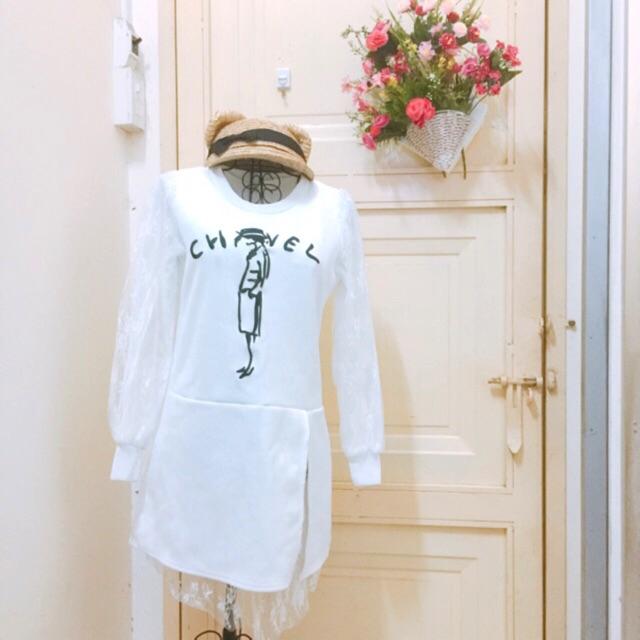 Thanh lý đầm duông trắng phối ren thêu chanel