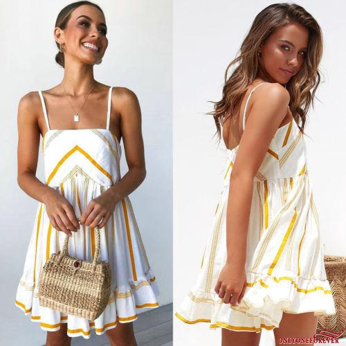Váy đầm hai dây kẻ sọc thời trang cho nữ