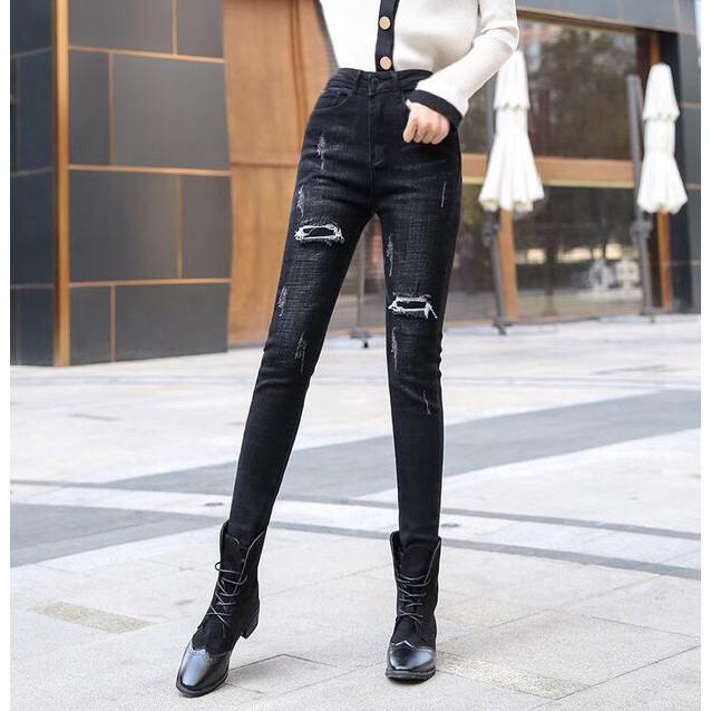 Quần Jeans Nữ Đen Xám Vá Rách SIZE ĐẠI - Co Giãn Mạnh, Lưng Cao