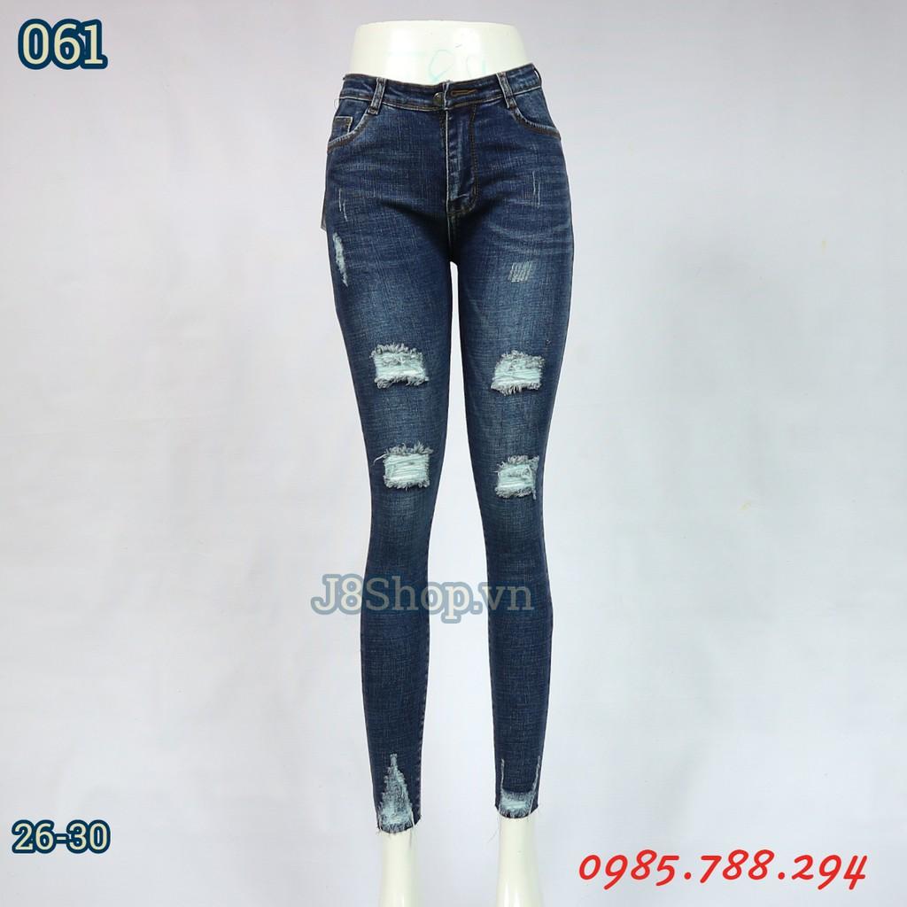 Quần Jean Nữ Lưng Rách Đốm Lai Cắt Ngang Màu Xanh Size 26-30 Ms d061