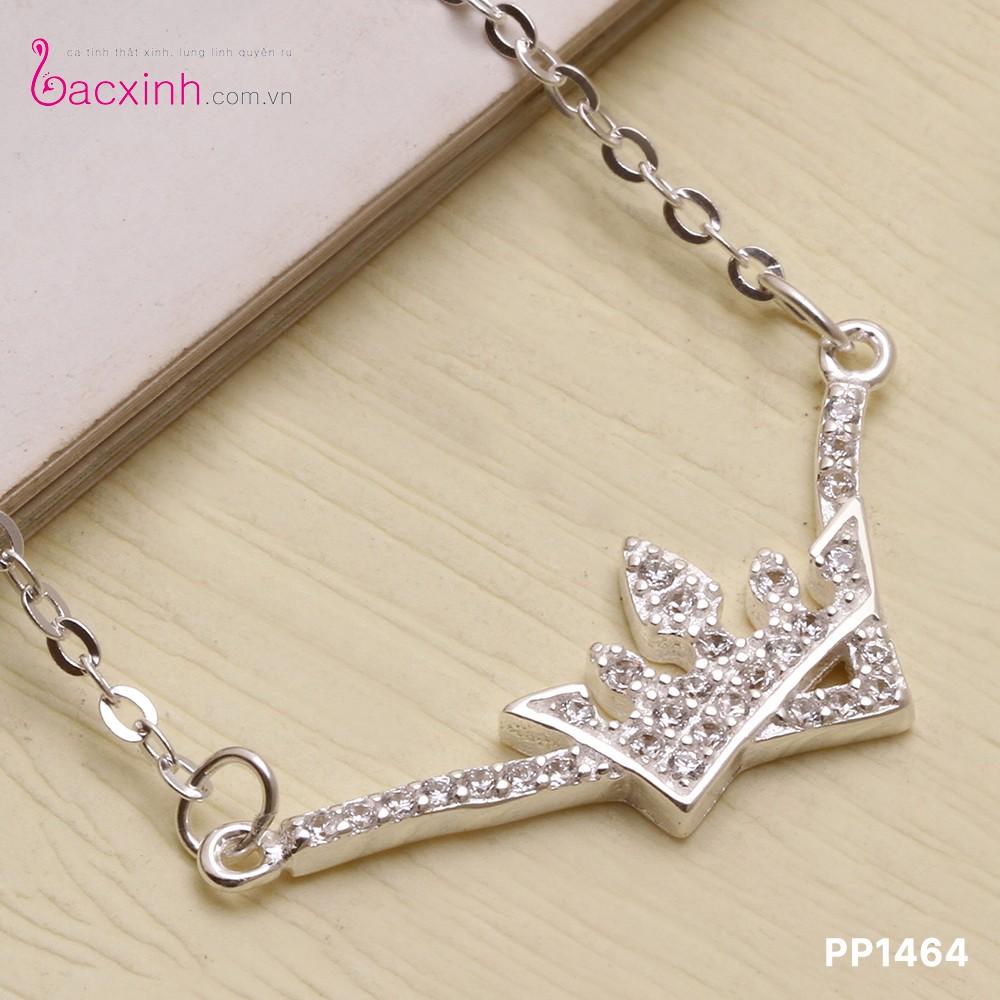 Bộ dây chuyền liền mặt trang sức bạc Ý S925 Bạc Xinh Huệ Ngân - Mặt vương miện đẹp PP1464