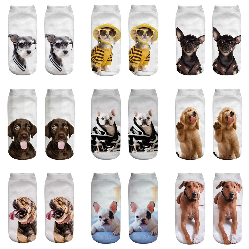 kami Women 3D Novelty Crazy Funny Dog Ankle Socks Cute Colorful Cartoon Low Cut Socks