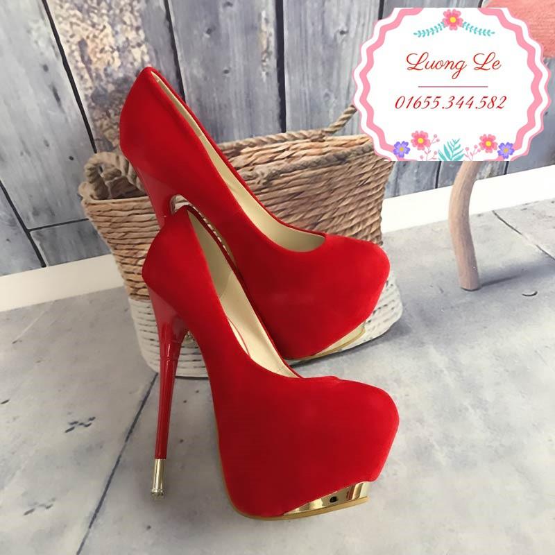Giày cao gót 16cm da lộn mũi cải vàng 2 màu đen đỏ Ms 95