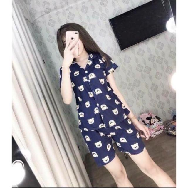 Pijama màu gấu xanh và hồng