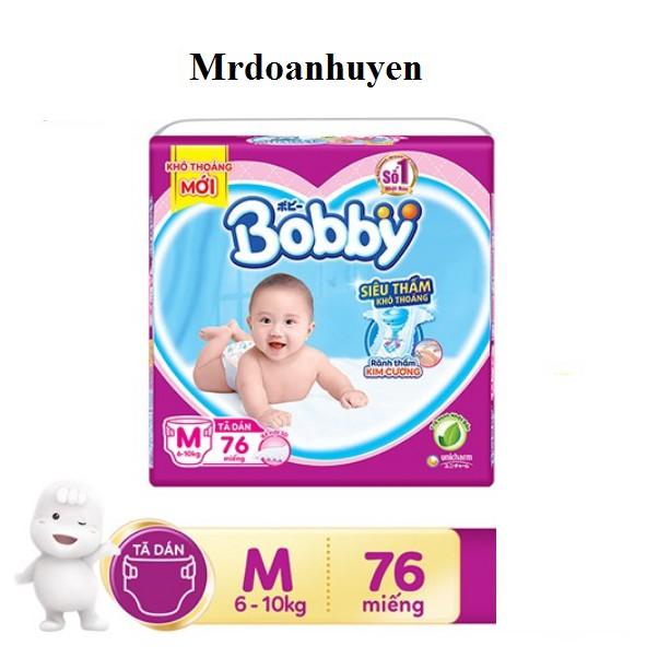 Tã Dán Siêu Mỏng Bobby M-76 Miếng (6-10kg) Mẫu Mới Trà Xanh