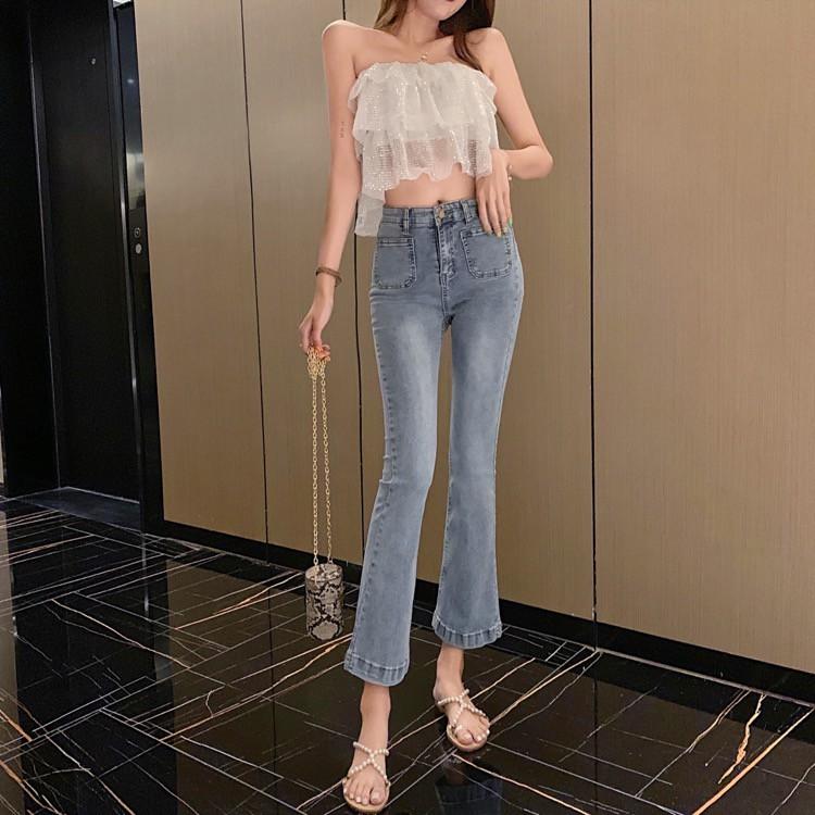 ( HÀNG ORDER ) Quần Jeans ống loe túi đôi xinh xắn.
