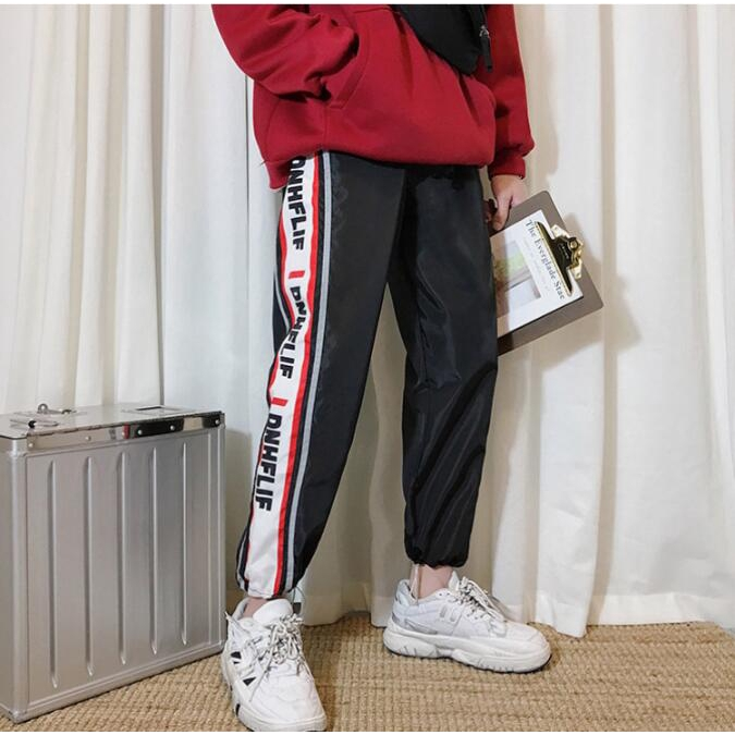 Jogger Pants fashion hip hop reflective striped beam pants