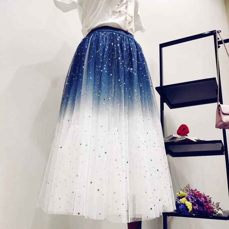 Chân váy tutu dài lưng cao màu sắc tuyến tính cho phái nữ