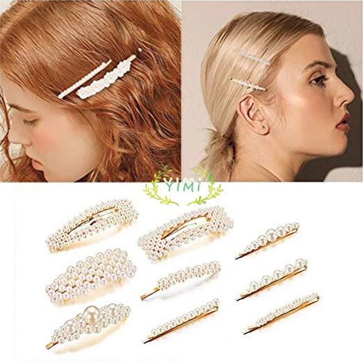 COD 9Pcs Hair Clips Set Hairclips Model Barrette With Korean Pearls For Women HairpinYimi