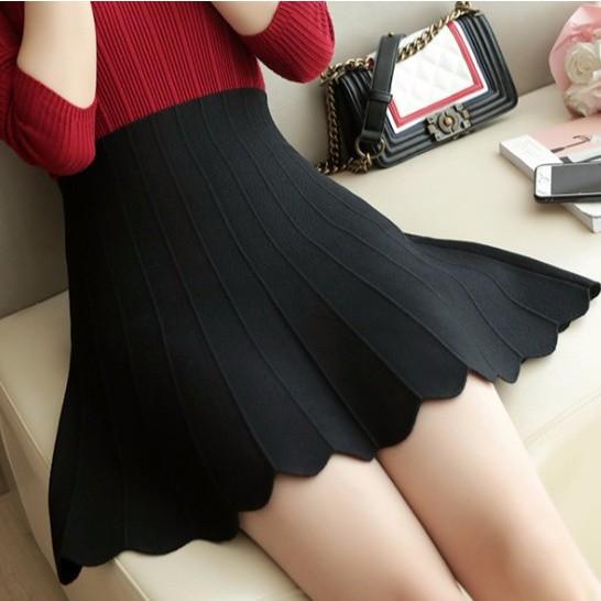 Chân Váy Dệt Kim Lưng Cao Xinh Xắn Dành Cho Nữ 2020