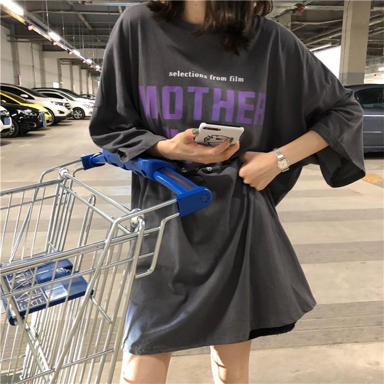 Mùa hè 2020 phiên bản mới của Hàn Quốc của phong cách ăn mặc kiểu dáng cặp đôi sơ mi dài tay ngắn tay giữa áo thun nữ dài tay