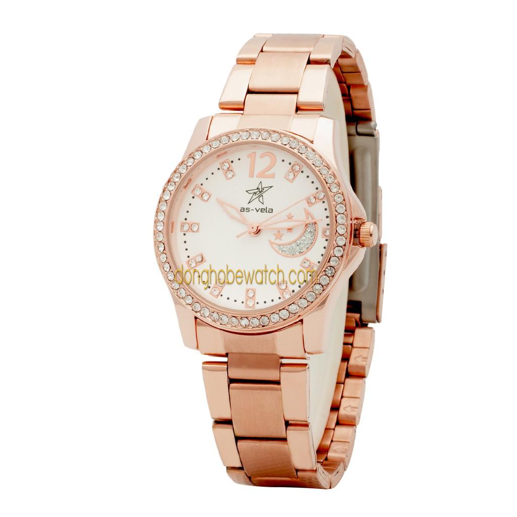 Đồng hồ nữ Mwatch AS456 vàng đồng