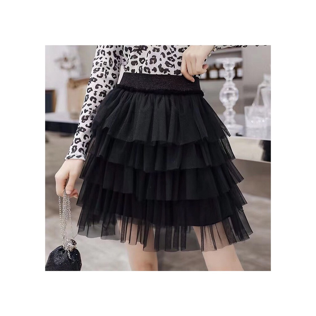 Chân váy ren NHIỀU TẦNG NGẮN có quần bên trong- MÀU ĐEN