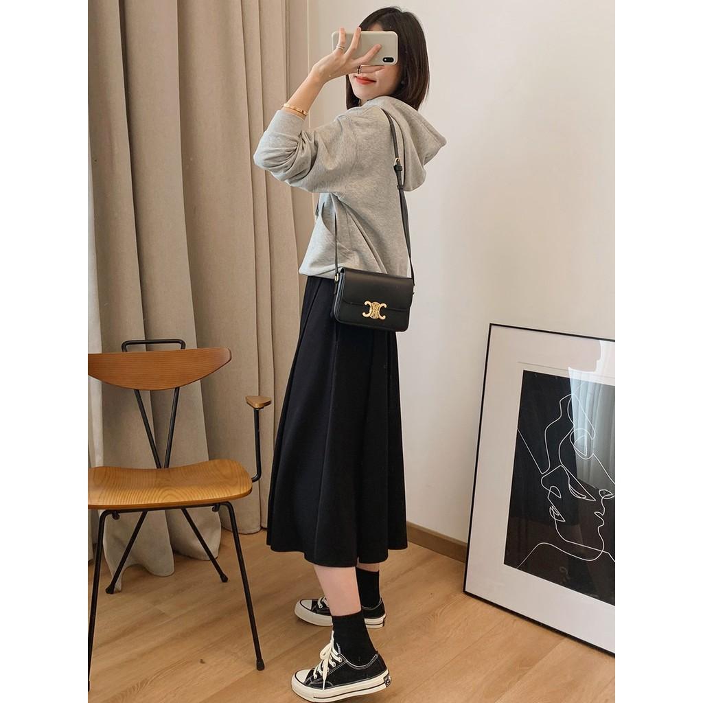 Chân Váy Dài Lưng Cao Màu Đen Phong Cách Nhật Bản 2020