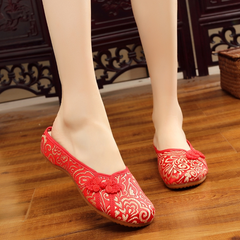 Hình ảnh ●Old Beijing cloth Shoes female gluten embroidery slope and national wind plate buckle flat slippers women's fashion