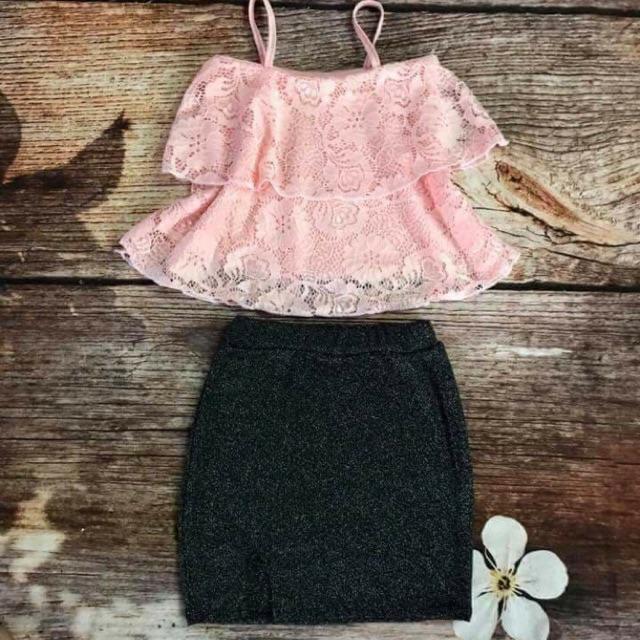Set váy ren 2 dây + chân váy nhũ