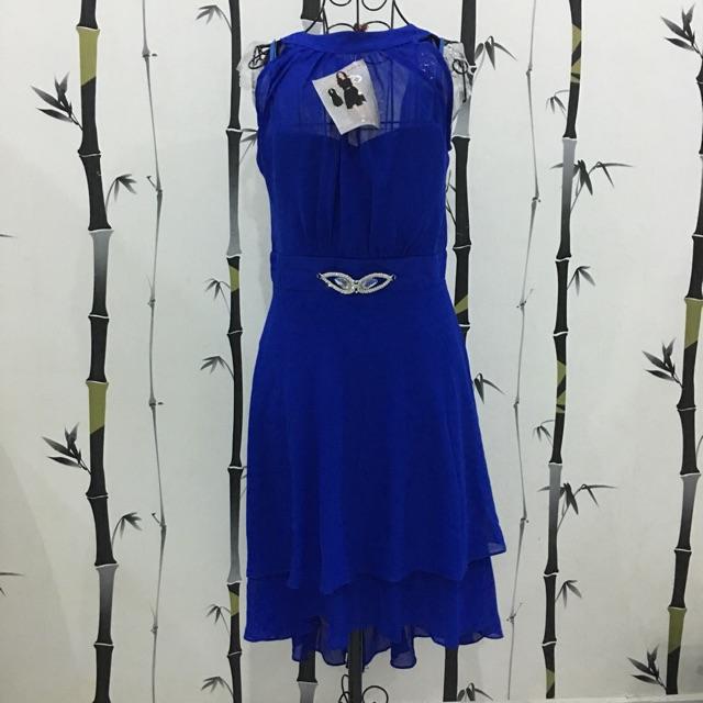 Đầm cổ yếm đi tiệc - xanh