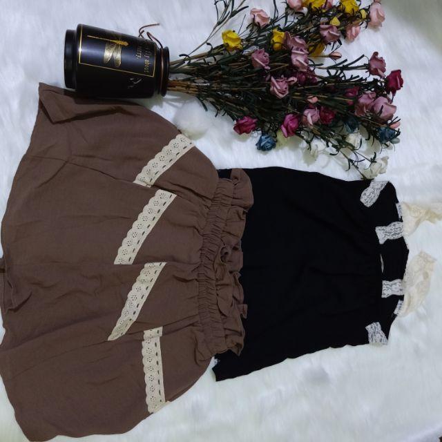 Set áo 2 dây và đầm vintage chất thun dày mát