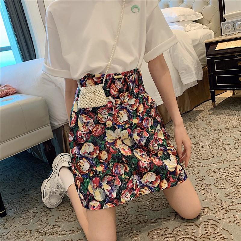 Chân Váy Dài In Họa Tiết Tranh Sơn Dầu Kiểu Hồng Kông Thời Trang Cho Nữ 0469