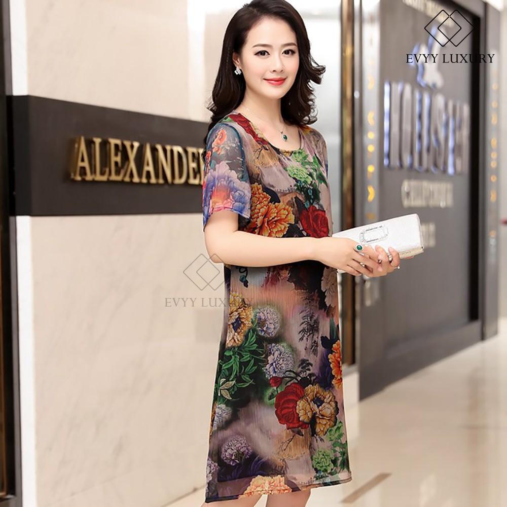 Váy liền voan ngắn tay họa tiết hoa Evyy Luxury