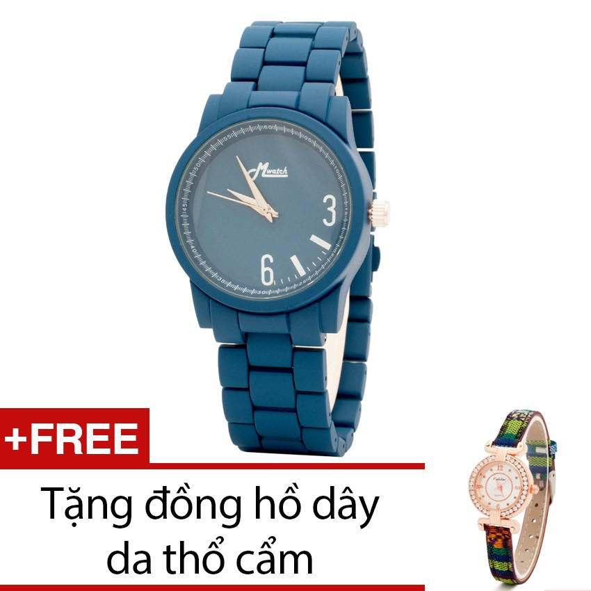 Đồng hồ nam Mwatch dây kim loại xanh tặng một đồng hồ thổ cẩm