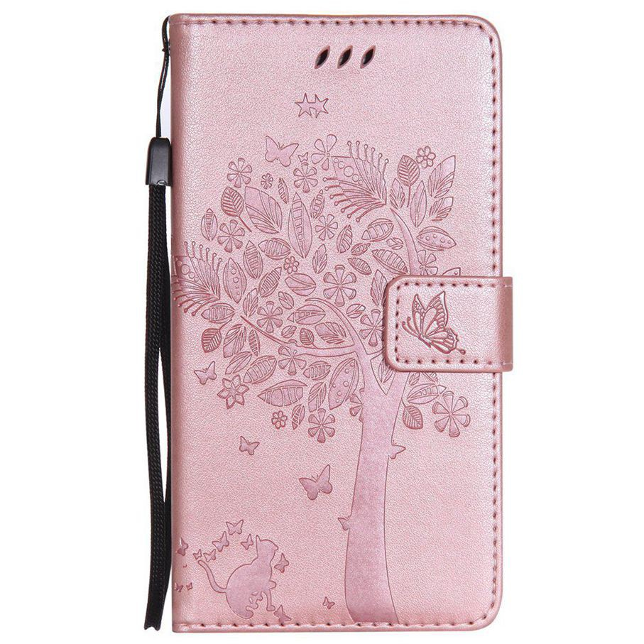 For Samsung Galaxy Note 4 Rose Gold Cat Tree Leather Flip Wallet Stand Case