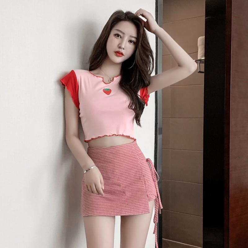 Set Áo Thun Ngắn Tay + Chân Váy Lưng Cao Sọc Ca Rô Thời Trang Cho Nữ